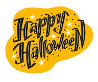 Vector flat halloween lettering quote design with doodle elements isolated on white background. Stock Image