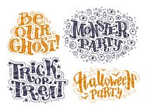 Vector flat halloween lettering quote design set with doodle elements isolated on white background. Stock Photo