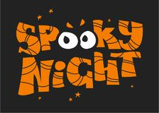 Vector flat halloween lettering quote design with spooky eyes isolated on black background. Stock Image