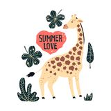 Vector flat hand drawn giraffes surrounded by tropical plants and flowers. vector illustration