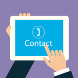 Vector flat hand touch contact on tablet device. Business contact on tablet device Royalty Free Stock Photography