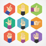 Vector flat Hands Icons Set Stock Photography