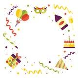 Vector flat happy birthday card template royalty free illustration