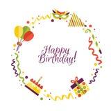 Vector flat happy birthday card template stock illustration