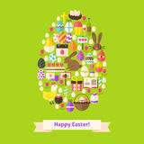 Vector Flat Happy Easter Objects Concept Egg Shaped. Collection of Spring Holiday Colorful Objects. Set of Christian Religion Items Royalty Free Stock Images