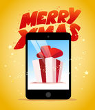 Vector flat happy new year and merry christmas tablet Royalty Free Stock Photo