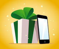 Vector flat happy new year and merry christmas tablet and smartphone present Stock Images
