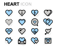 Vector flat heart icons set. On white background Stock Photos