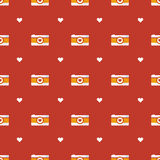 Vector flat hipster cameras seamless pattern Stock Photos