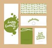 Vector flat holiday hand drawn creative cards. Happy birthday card design. Congratulations vector illustration