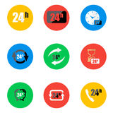 Vector flat 24 hours icons set. On color background Stock Photos