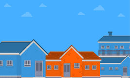 Vector flat of house on city. Collection stock Stock Photo
