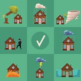 Vector flat house insurance poster Royalty Free Stock Photos