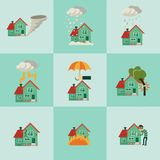 Vector flat house insurance concepts set. House being damaged by robbery, wind, rain, lighting fire, snow, tornado hurricane or whirlwind, by flood and falling Stock Photos