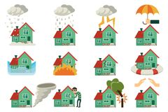 Vector flat house insurance concepts set. House being damaged by robbery, wind, rain, lighting fire, snow, tornado hurricane or whirlwind, by flood and falling Royalty Free Stock Images