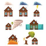 Vector flat house insurance concepts set Stock Photos