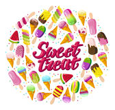 Vector flat ice cream cone and eskimo element set isolated with text logo on white background. Stock Photos