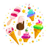 Vector flat ice cream cones and eskimo element set isolated on white background. Stock Image