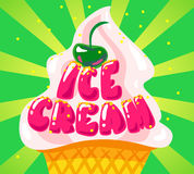 Vector flat ice cream shop, store logo isolated on green background. Royalty Free Stock Photo