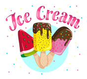 Vector flat ice cream truck, shop, store logo with hand written font, confetti and three eskimo isolated on white background. Stock Images