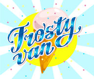 Vector flat ice cream truck, shop, store logo with hand written font and ice cream cone, confetti Stock Photo