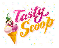 Vector flat ice cream truck, shop, store logo with hand written font and ice cream cone, confetti  on white background. Royalty Free Stock Image