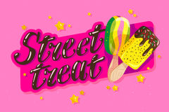 Vector flat ice cream truck, shop, store logo with hand written font and two eskimo with confetti isolated on pink background. Stock Images