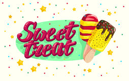Vector flat ice cream truck, shop, store logo with hand written font and two eskimo with confetti isolated on white background. Royalty Free Stock Photos