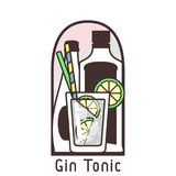 Cocktail gin tonic card. Vector flat icon of cocktail Gin Tonic on a background of bottles. The icon in a frame with a cocktail name. EPS10 Royalty Free Stock Image