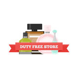 Vector flat icon of Duty Free perfume at airport Royalty Free Stock Photography