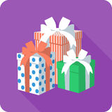 Vector flat icon gift box with ribbon bow Royalty Free Stock Photo