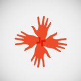Vector flat icon hands. color abstraction eps Royalty Free Stock Image