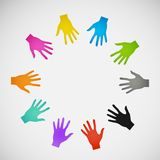 Vector flat icon hands. color abstraction eps Royalty Free Stock Images