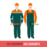 Vector flat icon locksmiths gas with the tools Stock Photo