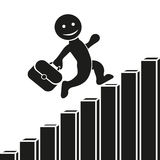Vector flat icon with a man climbing up the corporate ladder, graph growth and development. Flat design for business financial mar Stock Photo