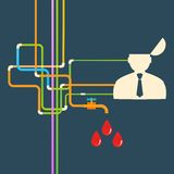 Vector flat icon man and leaky blood Royalty Free Stock Images