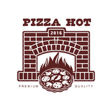 Vector flat icon, pictogram of pizza in fireplace Royalty Free Stock Photo