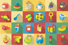 Vector flat icon set of baby goodies Stock Photography