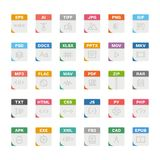 Vector flat icon set of file formats with outline icons.  Stock Photography