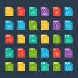 Vector flat icon set of file formats with outline icons.  Royalty Free Stock Photo