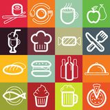 Vector flat icon set - food and cafe Royalty Free Stock Photography