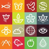 Vector flat icon set - nature, flora and fauna Royalty Free Stock Photo
