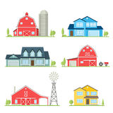 Vector flat icon suburban american house. Vector flat icon suburban american house and old farm. For web design and application interface, also useful for Stock Photography
