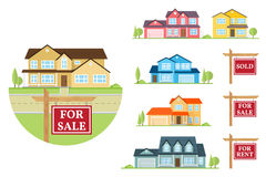 Vector flat icon suburban american house. Stock Image