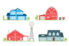 Vector flat icon suburban american house. Vector flat icon suburban american house and old farm. For web design and application interface, also useful for Royalty Free Stock Photo