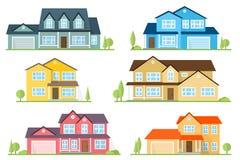 Vector flat icon suburban american house. Stock Photos
