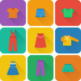 Vector flat icons of baby clothes for girls. Royalty Free Stock Photo