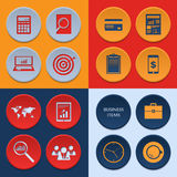 Vector flat icons of business workflow items and Royalty Free Stock Photography