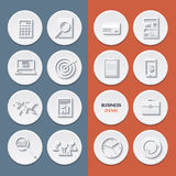 Vector flat icons of business workflow items and Stock Photos