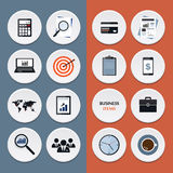 Vector flat icons of business workflow items and Royalty Free Stock Photos
